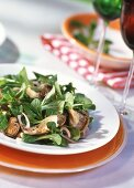 Corn salad with fried oyster mushrooms