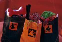 Gift bags filled with sweets for Halloween