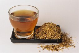 Meadow sweet tea and dried leaves (Filipendula ulmaria)