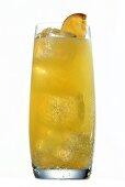 Orangeade with ice cubes