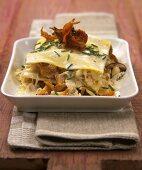 Lasagne with sauerkraut and mushrooms