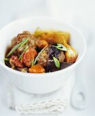 Stew with meatballs, vegetables and chorizo