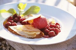 Crepe with raspberry & cassis ice cream & raspberry sauce