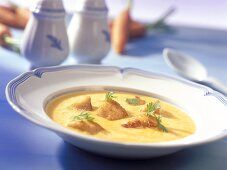 Creamed carrot soup with turkey breast