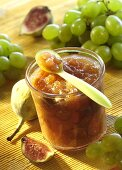 Grape and fig preserve in jar