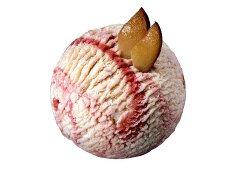 A scoop of plum and vanilla ice cream