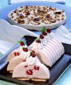 Fruit yoghurt cake and toffee gateau