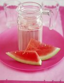 Watermelon and strawberry drink with banana, soya milk