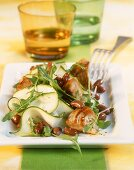 Bean and courgette salad with barbecued tuna