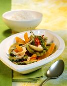 Pumpkin curry with kiwi fruit and coconut