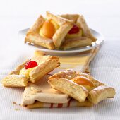 Danish pastries with peaches and cherries