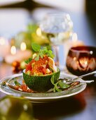 Avocado and trout salad with salmon caviare
