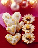 Lemon hearts and orange and poppy seed biscuits