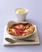 Rhubarb clafouti with clotted cream
