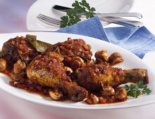 Coq au vin with mushrooms