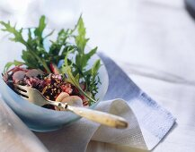 Rocket and wild rice salad with radishes and ginger