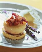 Fried peaches with lavender on almond blinis