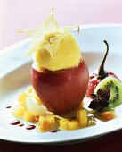 Stuffed tamarillos with exotic fruit and mango sorbet
