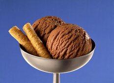 Chocolate ice cream with wafers