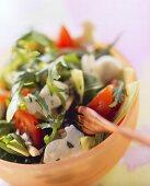Watercress & rocket salad with tomatoes & mozzarella hares