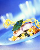 "Catfish poached ""au bleu"" in pearl barley stock"