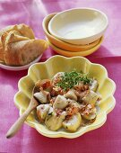Chicken with ham and fresh thyme; white bread