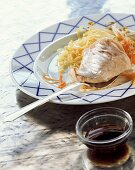 Redfish fillet with cabbage and carrots