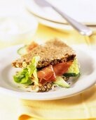 Nut bread with ham, cucumber and lettuce