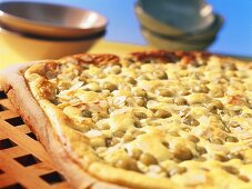 Gooseberry quark cake with flaked almonds