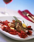 Lamb fillet with cranberry and orange preserve and rosemary