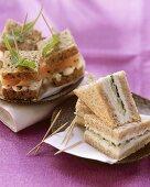 Tramezzini and salmon sandwiches with rocket
