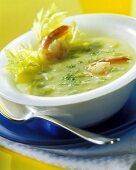 Shrimp soup with saffron and celery