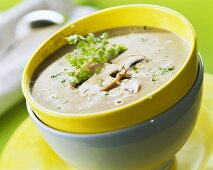 Creamed mushroom soup in yellow bowl