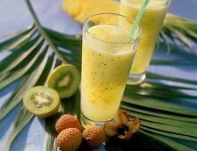 Exotic fruit shake with kiwi fruit, pineapple and lychee