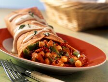 Burrito with chick-peas and peppers