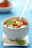 Tomato soup with zwieback (rusk) in soup bowl