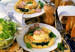 Spinach and potato tart with goat's cheese and radishes