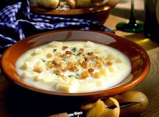 Potato soup with croutons and herbs