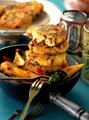 Arab millet cakes with marinated vegetables