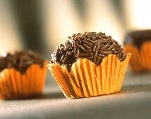 Brazilian sweets with chocolate sprinkles: Brigadeiro
