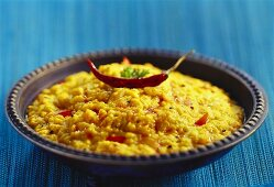 Dal tadka (lentil dish with chillies and tomatoes, India)