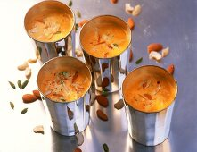 Thandai (almond milk with dried fruit, India)