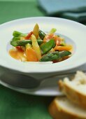 Leipzig style mixed vegetables with asparagus and shrimps