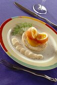 Boiled egg wrapped in salmon with cod's roe mousse