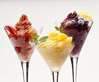 Tomato, apricot and blueberry sorbets
