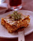 Lasagna with gorgonzola sauce