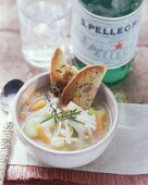 Minestrone primavera (Vegetable soup with toasted bread, Italy)