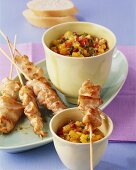 Marinated chicken kebabs with nectarine dip and white bread