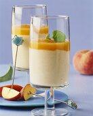 Vanilla yoghurt with peach puree