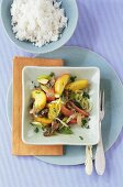 Peach curry with beef and rice